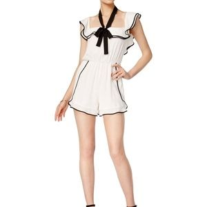 Bar III Womens Size XS Bow Romper Jumpsuit White